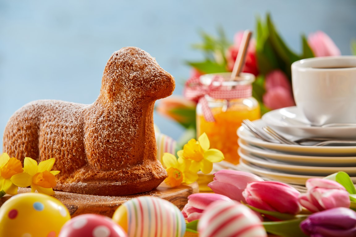 Easter tea table with a speciality lamb cake